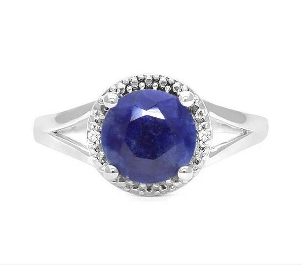 1.8CT Sapphire & Diamond Ring in Sterling Silver