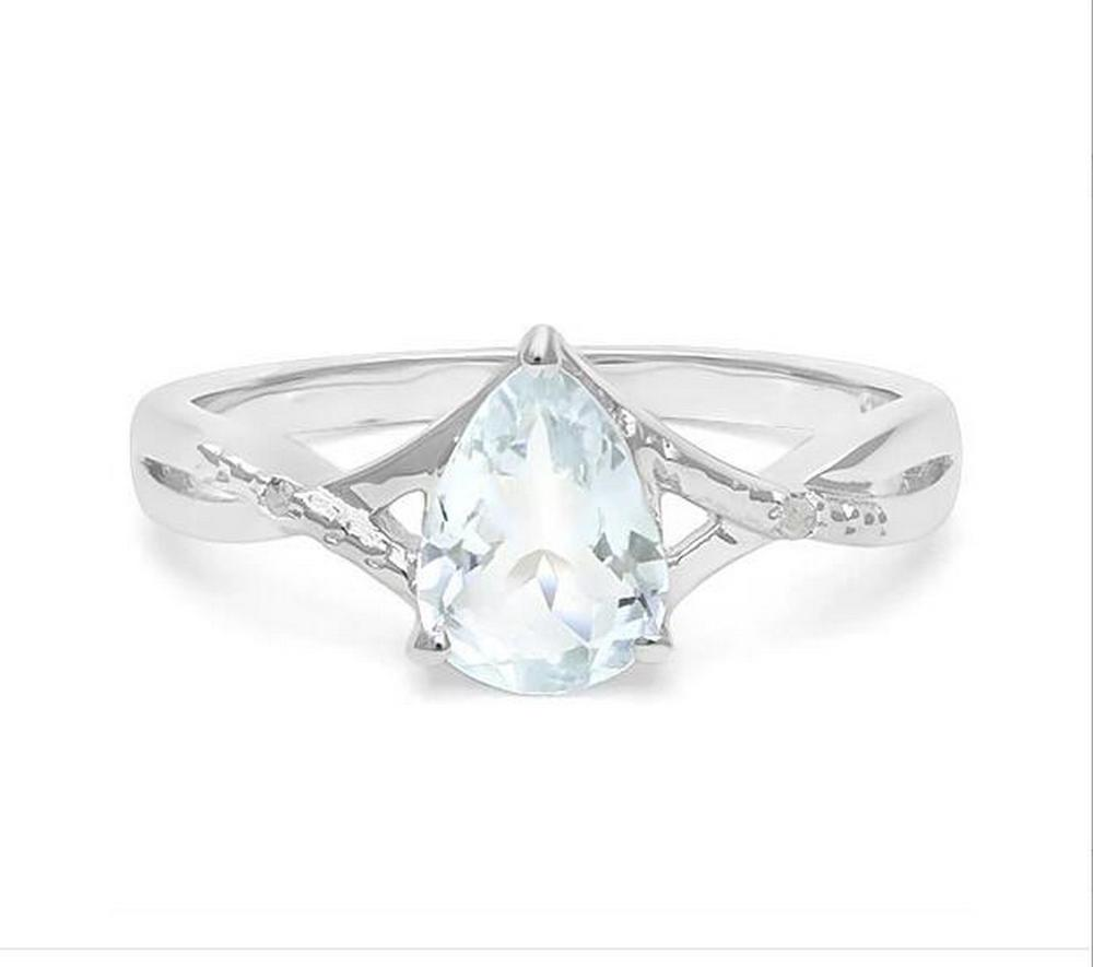 Aquamarine & Diamond Cocktail Ring in Sterling Silver