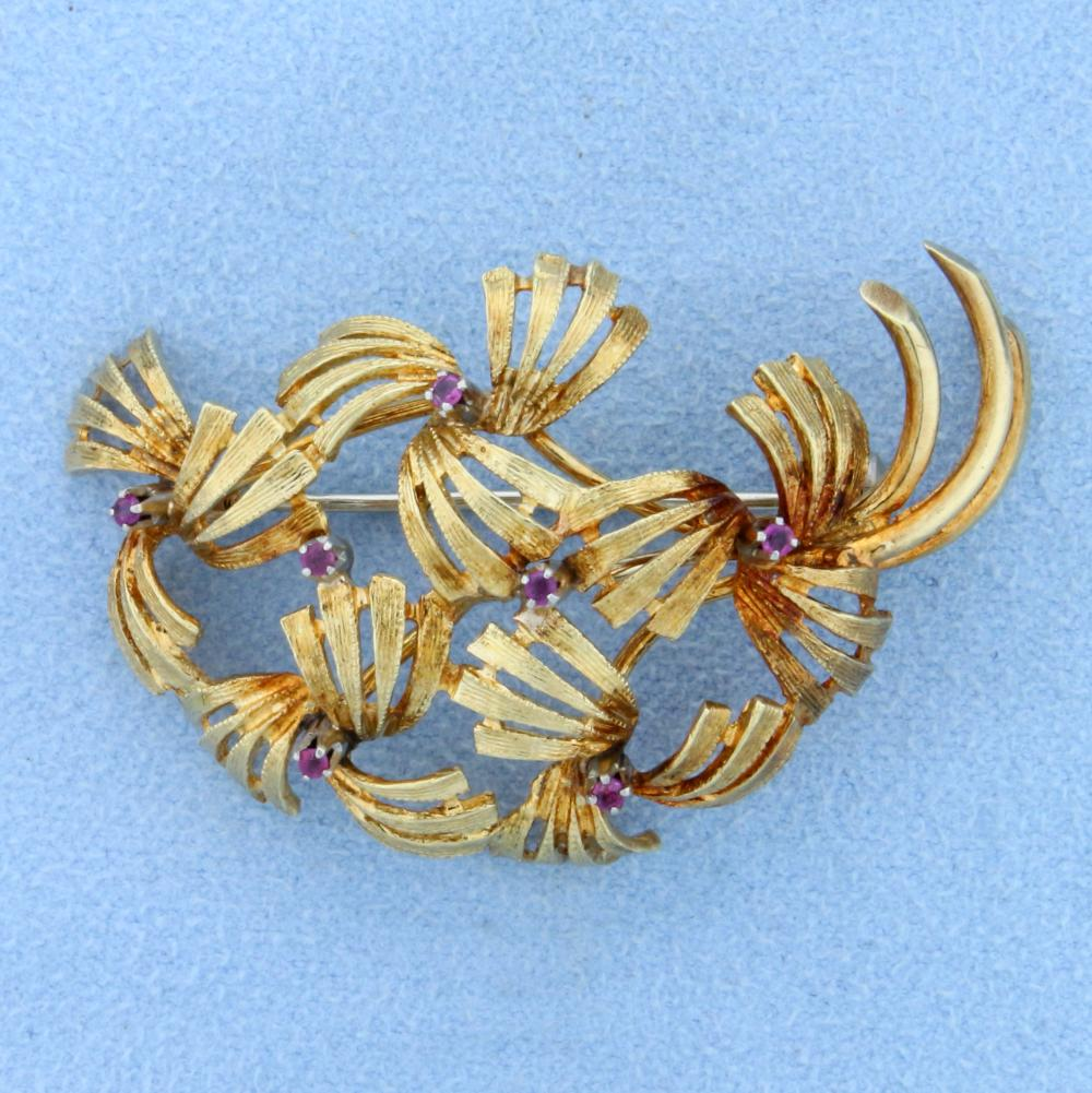 Antique 18k Gold Ruby Pin