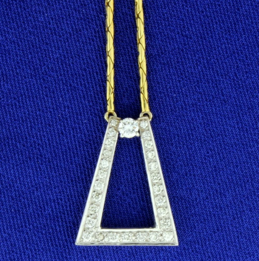 1/2 ct TW Diamond Designer Necklace in 18k Yellow and White Gold