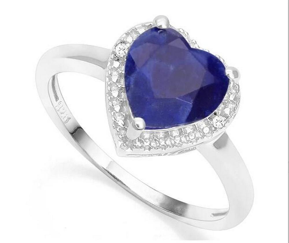 1.6CT Sapphire & Diamond Heart Ring in Sterling Silver