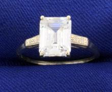 2.5ct Emerald Cut CZ Gemstone Ring in 14k Gold