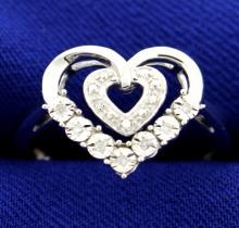 Diamond Heart Ring in Sterling Silver
