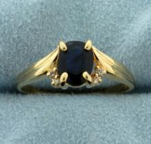 1.5ct Natural Sapphire and Diamond Ring in 14k Gold