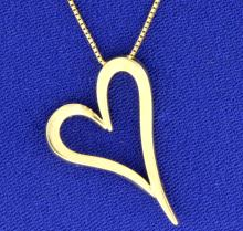 Italian Made Box Link Chain with Heart Pendant in 14k Gold