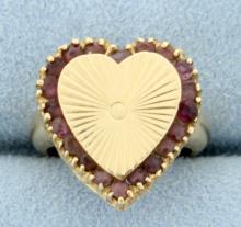 Amethyst Heart Pinky Ring in 14k Gold