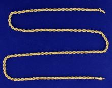 25 Inch Rope Style Neck Chain in 14k Gold