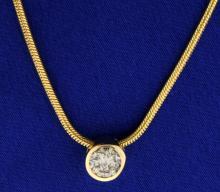 1/2 ct Diamond Pendant on 14k Gold Italian Made Chain