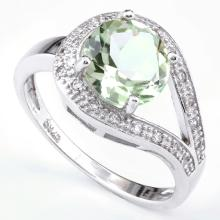 Green Amethyst 1.8CT Buckle Ring in Sterling Silver