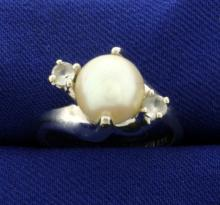 Akoya Pearl and White Sapphire Ring in 14k White Gold