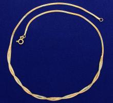 Tri-Colored Rose, Yellow, and White 14k Gold Herringbone Necklace