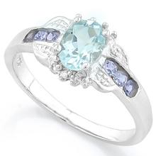 Tanzanite and Aquamarine Deco Style Ring in Platinum over Sterling Silver