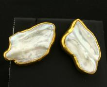 Signed Betsy Fuller Designer 18k Gold and Mother of Pearl Clip on Earrings