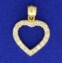 1/2ct TW CZ Heart Pendant in 14k Gold