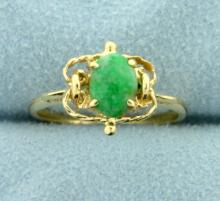 Unique Natural Jade Ring in 14K Yellow Gold