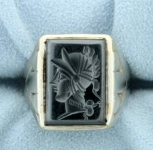 Hematite Gladiator Head Signet Ring