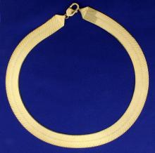 Italian Made 18 1/2 Inch Extra Wide Herringbone Gold Necklace