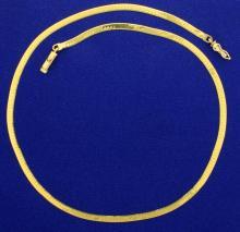 16 Inch Herringbone Neck Chain in 14k Gold