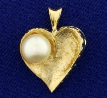Pearl Heart Pendant in 14K Yellow Gold