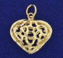Modern Design Heart Pendant in 14K Yellow Gold