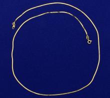 Italian Made 18 Inch Herringbone Neck Chain in 14K Yellow Gold
