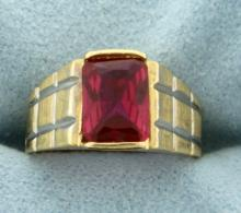 1.5ct Solitaire Ruby Ring in 14K Yellow and White Gold
