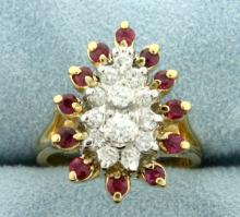 Natural Ruby and Diamond Cocktail Ring in 14K Yellow Gold