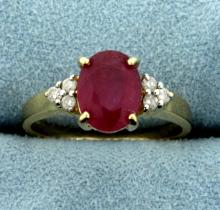 2.5ct Natural Ruby and Diamond Ring in 14K Yellow Gold