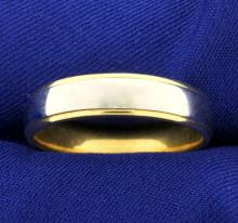 Men's Wedding Band Ring in 18K White and Yellow Gold