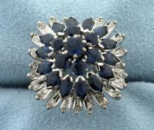 Vintage 3ct Natural Sapphire and Diamond Ring in 18K White Gold