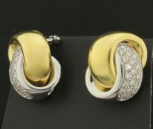 3/4ct TW Diamond Clip-On Earrings in 18K Yellow and White Gold