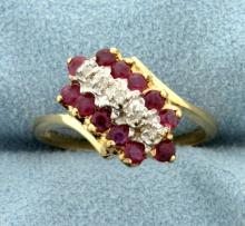 Natural Ruby and Diamond Gold Ring