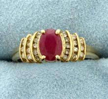 1ct Natural Ruby and Diamond Gold Ring