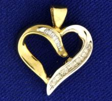 Baguette and Round Diamond White and Yellow Gold Heart Pendant