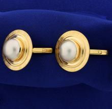 Large 1 Inch Diameter Heavy 18k Gold and Mabe Pearl Cufflinks