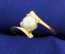 Bypass Design Gold Pearl Ring