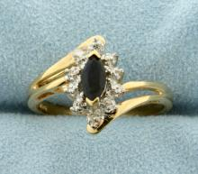 Natural Sapphire and Diamond Gold Ring