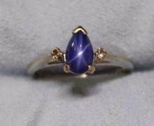 Star Sapphire and Diamond Ring in White Gold
