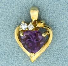Heart Shaped Amethyst and White Sapphire Gold Pendant