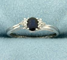 Natural Sapphire and Diamond Ring in White Gold