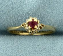 Antique Ruby and Diamond Pinky Ring in 14K Yellow Gold