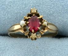 Vintage Ruby and Seed Pearl Ring in 14K Yellow Gold