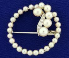 Cultured Pearl and Diamond Circle Pin