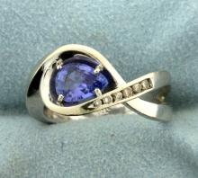 Diamond and Tanzanite Infinity Ring
