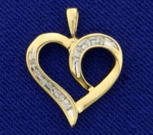 Heart Pendant with Diamonds in 10K Yellow and White Gold