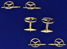 6-Piece Mercedes Symbol Cuff Link and Tuxedo Stud Set in 14K Yellow Gold
