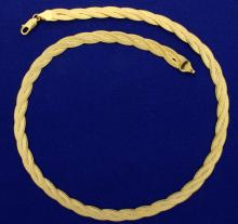 17 Inch Italian Made Woven Design Necklace in 10K Yellow Gold