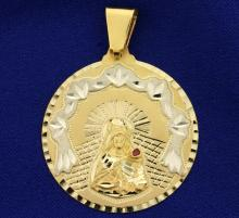 Large Virgin Mary Ruby Pendant in 14K Yellow and White Gold