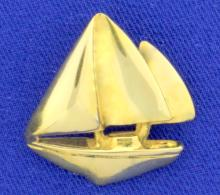 Sailboat Pendant in 18K Yellow Gold