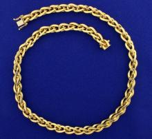 Italian Made Twisting Designer Link Necklace in 18K Yellow Gold